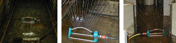 Use of sprinklers for cleaning farms