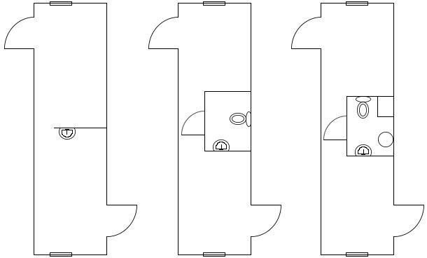Examples of designs of the changing rooms