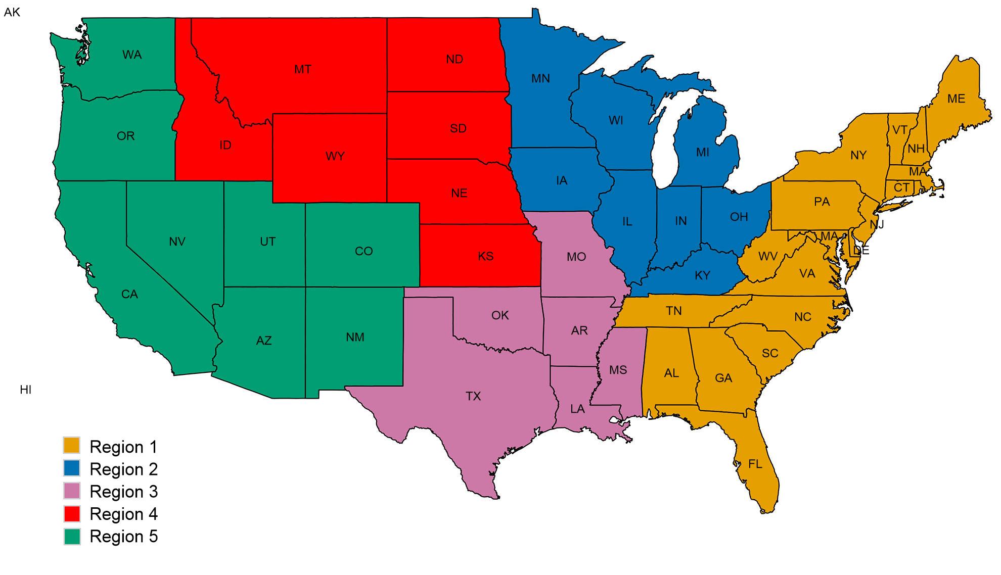 USDA veterinary services regions