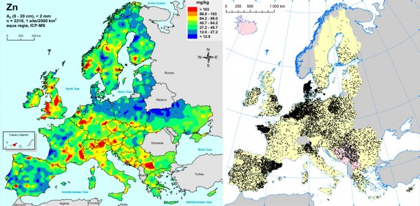 Left: Zinc in EU agricultural soils (Gemas 2014): Top soil zinc levels (top 20cm) in agricultural land in Europe (Taken from Reimann et al., 2014).  Right: EU sow herds (Eurostat, 2014).