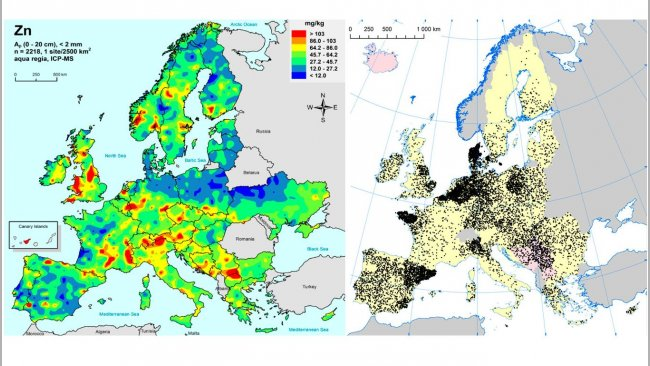 Left: Zinc in EU agricultural soils (Gemas 2014): Top soil zinc levels (top 20cm) in agricultural land in Europe (Taken from Reimann et al., 2014).