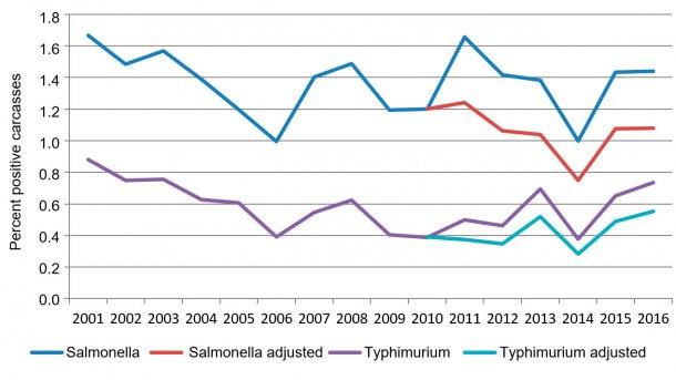 Figure 2. Percent salmonella positive carcasses per year.