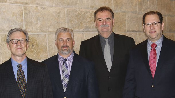 AASV Officers (left to right) Dr Nate Winkelman (Vice President), Dr Scanlon Daniels (President-elect), Dr George Charbonneau (Past President)  and Dr Alex Ramirez (President)