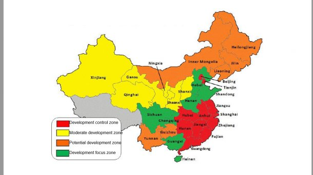 China environmental control zones