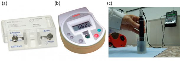 Figure 1. Equipment to measure semen concentration. (a) Haemacytometer: (A) Bürker Chamber for manual cell counting. (B) Colorimeter: electronic measurement through calculation of absorbance. (C) Measure of spermatic concentration directly in diluted semen.