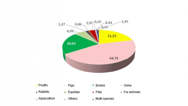 National feed production in 2016: percent share per species
