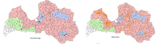 ASF epidemiologic situation in Latvia from January 1st, 2017 to September 17th, 2017 (Source: Food and Veterinary Service. Republic of Latvia)