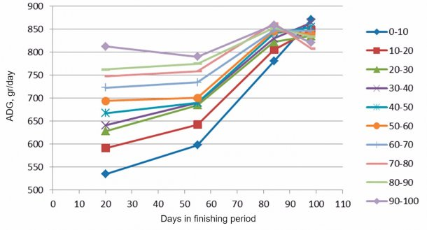 Figure 7. ADG evolution based on the initial weights (each 10%). At the end of the finishing period all the pigs end up having a similar ADG, however the biggest ones reach the maximum much earlier.