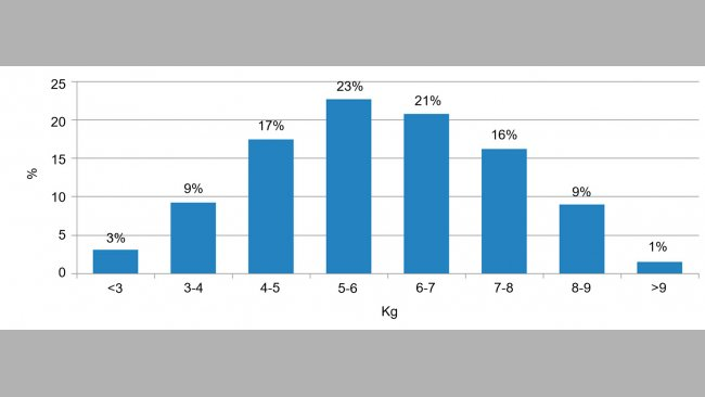 Figure 2. Population distribution by weight at weaning. The difference between the lightest 5% and the heaviest 5% is around 6kg