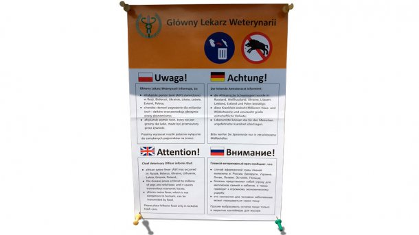 Message in Poland warning of the threat entailed by wild boars for the spreading of ASF. There is danger regarding the spreading of ASF to the rest of Europe.