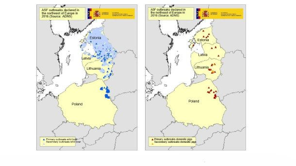 Map of the outbreaks declared in Estonia, Latvia, Lithuania and Poland in 2016 (Source: RASVE-ADNS)