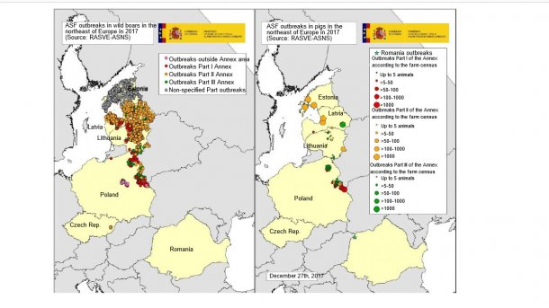Map of the outbreaks declared in Estonia, Latvia, Lithuania, Poland, the Czech Rep. and Romania in 2017 (Source: RASVE-ADNS)