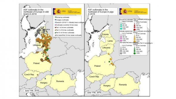 Map of the outbreaks declared in Estonia, Latvia, Lithuania, Poland, the Czech Rep. and Romania in 2018 (until June 11th, 2018) (Source: RASVE-ADNS)
