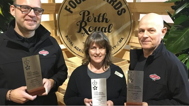 D'Orsogna was a big winner at the 2018 Perth Royal Show Branded Meat Awards. Here, Jamie Neri, D'Orsogna Sales Manager and Paul Butcher, D'Orsogna Marketing Manager accept the three awards from Royal Agricultural Society of WA's Councillor in Charge Dr Jo Pluske.