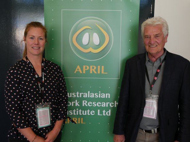 Dr Alice Weaver with Acting APRIL CEO Dr Roger Campbell at the 2018 Pan Pacific Pork Expo. Dr Weaver's University of Adelaide PhD was supported by Pork CRC and in 2016 she was the first Industry Placement Program appointment under South Australian Government funding to Pork CRC.