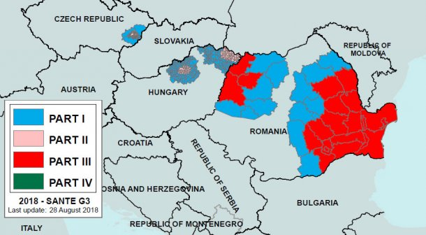 Image2. ASF regionalisation in Romania and sorrounding countries declared on August 28th, 2018.Part I: higher risk area with no outbreaks. Part III: occurrence of ASF in both domestic pigs and wild boar. Source: European Commission.