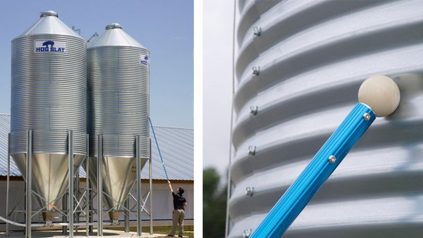 Hog Slat's Bin Stik easily notes the noise difference between empty and filled ridges of the bin, quickly revealing internal feed bin content levels from the ground