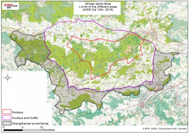 Limits of the different areas under restrictions due to ASF in wild boars