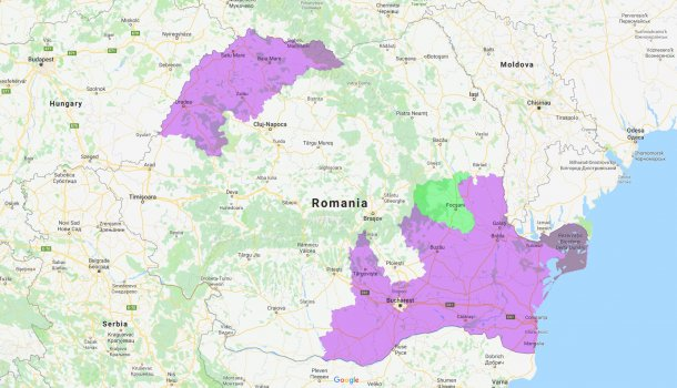 Counties affected by ASF in Romania