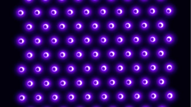 U of M researchers are testing the efficacy of various plasma sources, including a 2D integrated coaxial micro hollow dielectric barrier plasma discharge array. Plasma (purple) is produced inside the holes of the array, through which air is blown. This plasma source has been productively breaking down various viruses—the pathogens are inactivated when they come into contact with the air coming through the holes in the array.