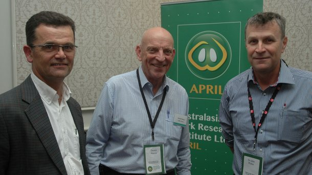 APRIL CEO & Chief Scientist, Prof John Pluske (right) described the ARC grant as significant, with improving pig welfare a hot button issue in the Australasian pork industry. He was pictured in Melbourne at the recent APRIL stakeholders' day with APRIL Chairman Dennis Mutton (centre) and APRIL Manager Commercialisation and Research Impact, Dr Charles Rikard-Bell.