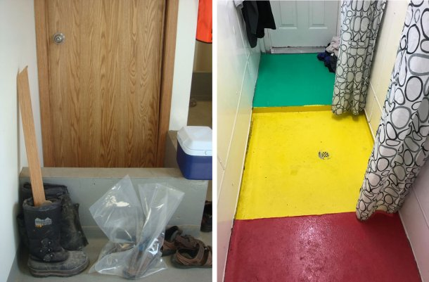 Left: Separation of zones within a farm. The small wall reminds workers of the mandatory shoe change point between the entrance of the farm (dirty) and the shower area. Picture courtesy Dr. Tim Snider. Right: Example of separation of zones within shower area. Red = Dirty Zone; Yellow = Intermediate Zone; Green = Clean Zone. Picture courtesy of Mike Luyks, Kaslo Bay, PIC Boar Stud, Canada.