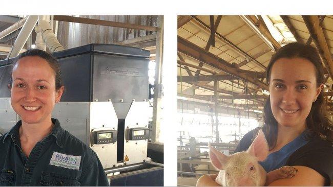 APRIL IPP Jess Craig, Rivalea, New South Wales (left) and APRIL IPP Sofie Pridgeon, Wasleys Piggery, SunPork Farms, South Australia (right).