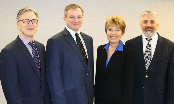 AASV officers (left to right), Dr Nate Winkelman (President), Jeff Harker (President-elect) Dr Mary Battrell (Vice-president) and Dr Scanlon Daniels (Past President)