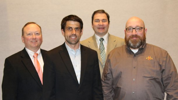 AASV Foundation Chairman Dr Paul Ruen (far left) with Drs Fabio Vannucci, Hans Coetzee, and Locke Karriker (from left), whose research proposals were selected for funding by the Foundation.