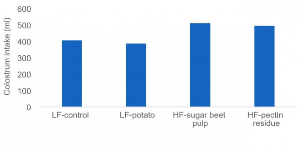 Figure 1: Sufficient colostrum intake is crucial for newborn piglets to stay alive and some fiber sources (e.g. sugar beet pulp and pectin residue) may stimulate the colostrum production of the sow. In this study colostrum intake was measured by isotopes.