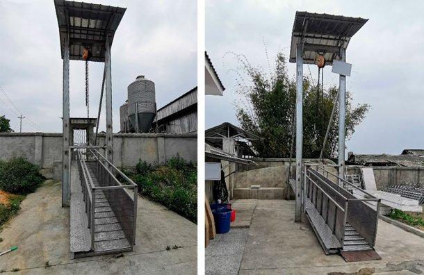 Picture 5. Aluminum open loading chute at the farm perimeter, China. Courtesy of DanAg Group.