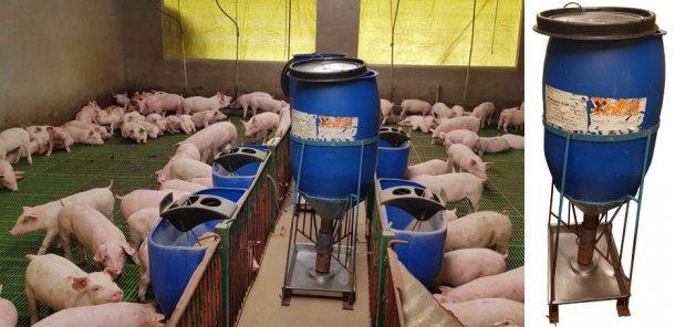 The hand-made feeders the farm uses.