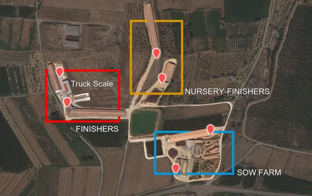 Picture 2. Distribution of the production phases by building and original load-ins and load-outs (red pointers)