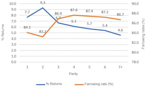 Graphic 1: Farrowing rateand% returns, first services,year 2018 (689,024 services),PigCHAMP Pro Europa database (301,250 females).
