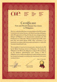 OIE certificate FMD free zones in Philippines