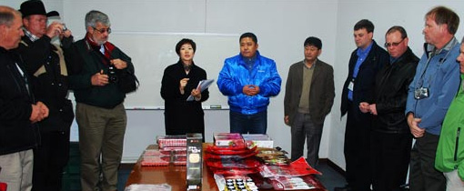 Producers view a wide variety of meat products imported through a Hanjung Food cold storage facility in South Korea