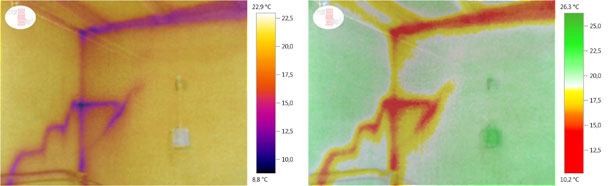 Image superposition (thermal + digital) in order to analyse the surface temperature differences (winter). We can see a lower temperature in the roof beams, the joints and the junctions between the faç