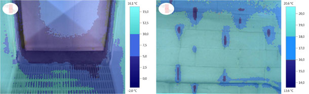Thermographic image (scale with limit values) with air infiltrations through a doorframe (weaner pigs unit, winter).