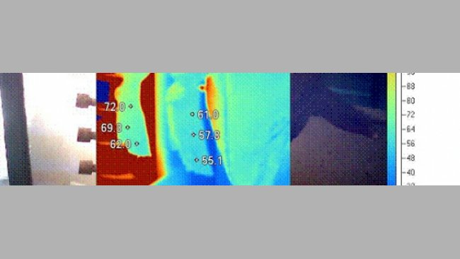 A thermal imaging camera can be used for optimization of singeing to ensure adequate heating of all parts of the carcase, especially the front end, where Salmonella load is greatest