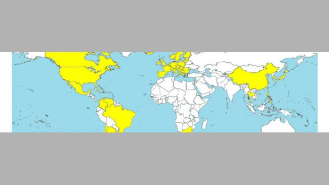 Countries in which the PCV2-SD has been diagnosed (yellow-coloured).