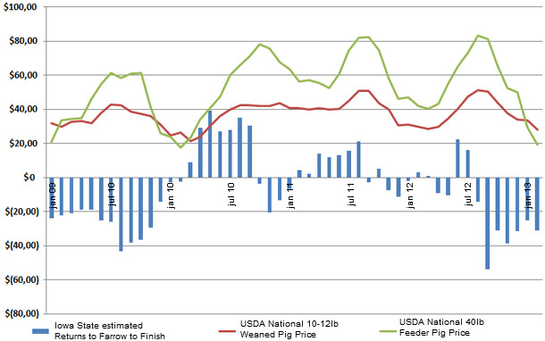 Estimated returns from finished hog production  matched to USDA national average weaner and feeder pig prices