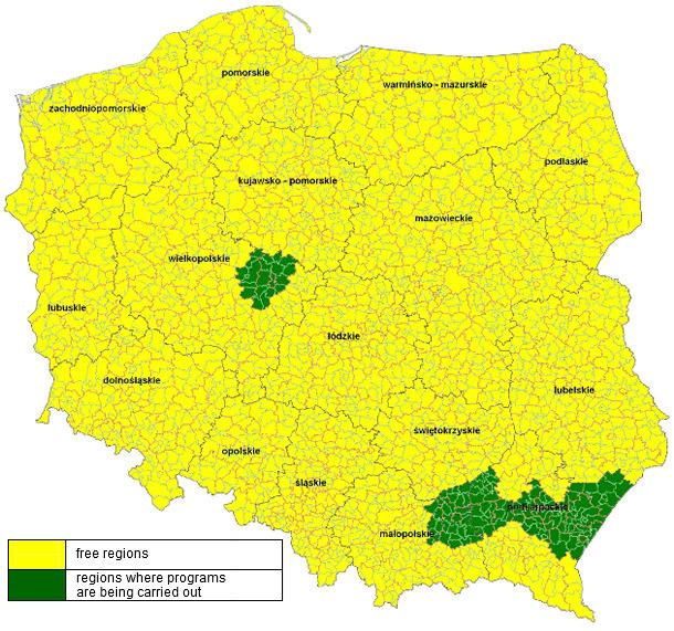 Mapa regionów uznanych za wolne od wirusa choroby Aujeszkyego u świń - stan na dzień marca 2014 r.
