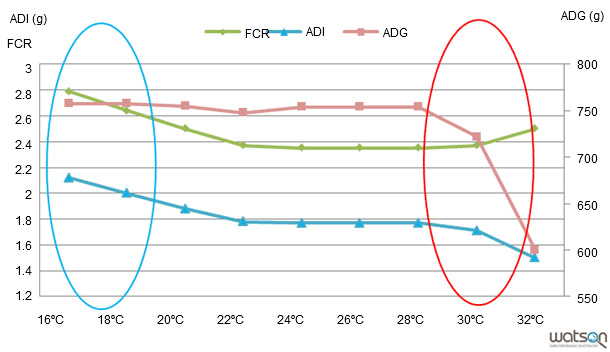 Evolution of the zootechnical parameters depending on the model, bearing in mind the temperature as the only variable.