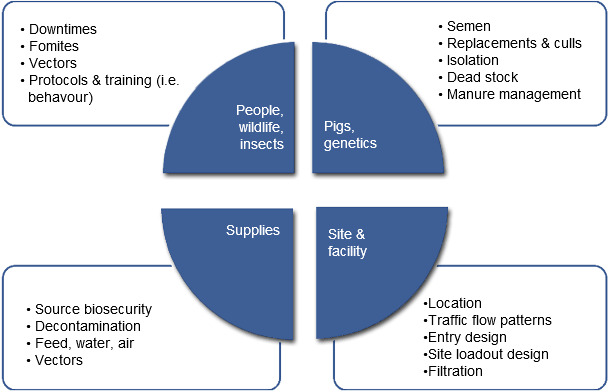 Common list of factors that are reviewed when a biosecurity program is being created or audited