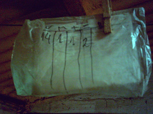 Write down the data with a permanent marker on the plastic bag used to protect the card