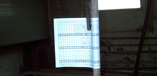 Manual feeding control with a chart wrapped around the water pipe