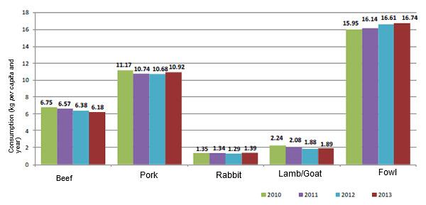 consumo carne españa 2010-2013